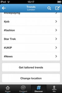 Filter trends by location with the latest build of Twitter for iPhone.