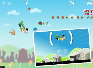 Once paired, your Android device (inset) can be used to control the action on the main screen.