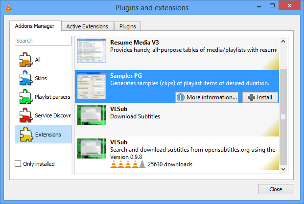vlc 2 2 0 adds extension manager resume playback auto
