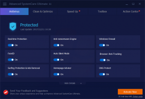 Anti-Ransomware protection is an exclusive new feature to IObit Advanced SystemCare 11 Ultimate.